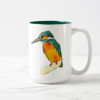 Kingfisher Bird Watercolor Painting Two-Tone Coffee Mug