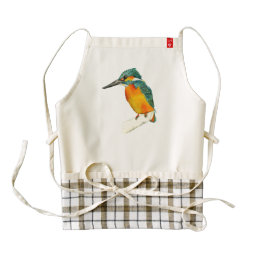 Kingfisher Bird Watercolor Painting Zazzle HEART Apron