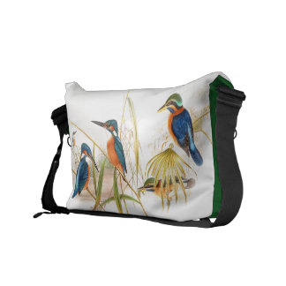 Kingfisher Birds Animals Wildlife Pond Messenger Bag