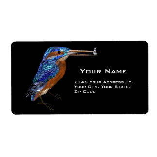KINGFISHER , Black Blue Personalized Shipping Labels