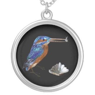 KINGFISHER , Blue, Black Round Pendant Necklace