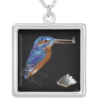 KINGFISHER , Blue, Black Silver Plated Necklace