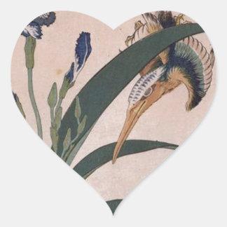 Kingfisher, carnation, iris by Katsushika Hokusai Heart Sticker