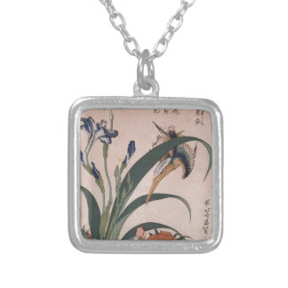 Kingfisher, carnation, iris by Katsushika Hokusai Silver Plated Necklace