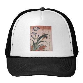 Kingfisher, carnation, iris by Katsushika Hokusai Trucker Hat