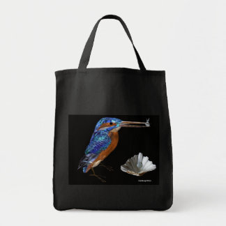KINGFISHER  , Electric Blue, Black Grocery Tote Bag