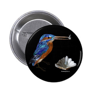 KINGFISHER  , Electric Blue, Black 2 Inch Round Button