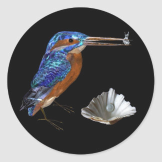 KINGFISHER  , Electric Blue, Black Classic Round Sticker