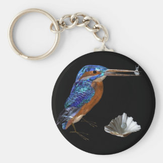 KINGFISHER  , Electric Blue, Black Keychain