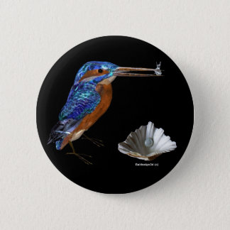 KINGFISHER  , Electric Blue, Black Pinback Button