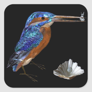 KINGFISHER  , Electric Blue, Black Square Sticker