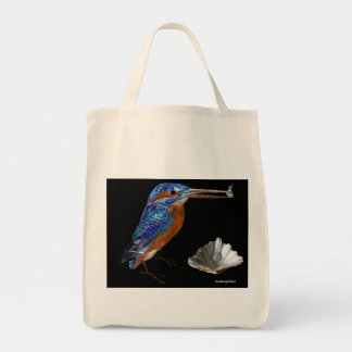 KINGFISHER  , Electric Blue, Black Tote Bag