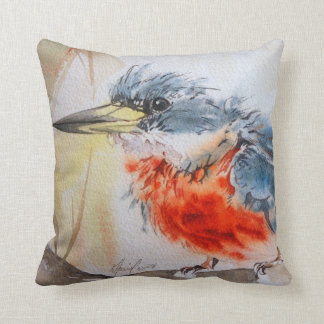 Kingfisher Fine Art Watercolor Pillow