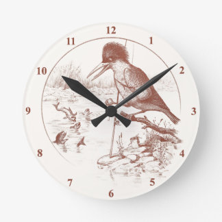 Kingfisher Fishing with Pole Round Clock