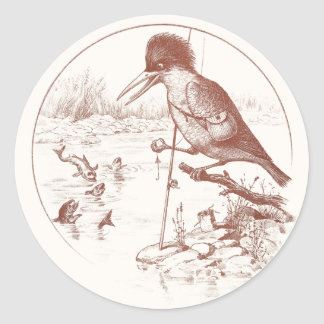 Kingfisher Fishing with Pole Round Stickers