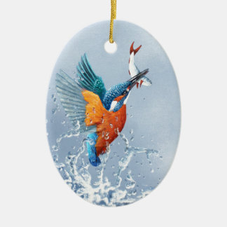 Kingfisher flying out of the water ceramic ornament