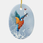 Kingfisher flying out of the water Double-Sided oval ceramic christmas ornament