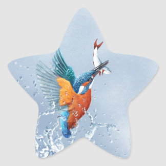 Kingfisher flying out of the water star sticker