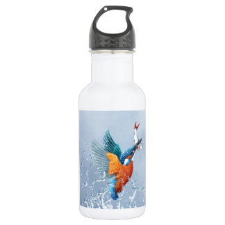 Kingfisher flying out of the water water bottle