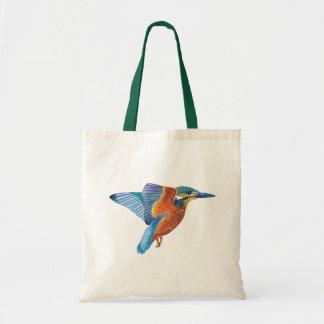 Kingfisher in flight design tote bag