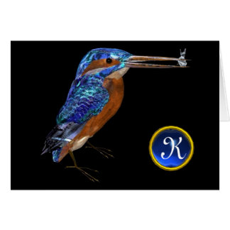 KINGFISHER MONOGRAM , Blue Sapphire, Black Greeting Cards