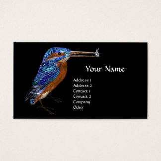 KINGFISHER  MONOGRAM , Electric Blue, Black Business Card