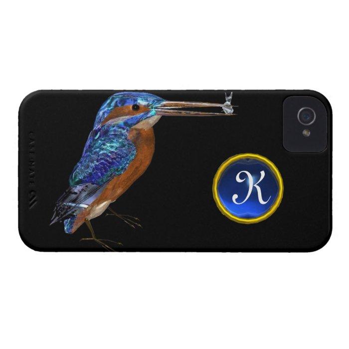KINGFISHER  MONOGRAM , Electric Blue, Black iPhone 4 Case-Mate Case