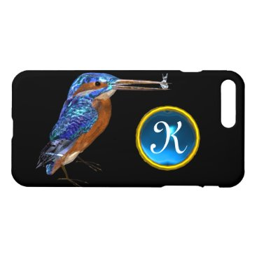 Beach Themed KINGFISHER MONOGRAM , Electric Blue, Black iPhone 7 Plus Case