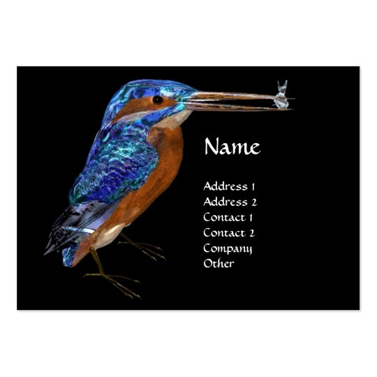 KINGFISHER  MONOGRAM , Electric Blue, Black Large Business Card