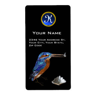KINGFISHER MONOGRAM , Electric Blue ,Sapphire Custom Shipping Label