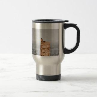 Kingfisher on a stump stainless steel travel mug