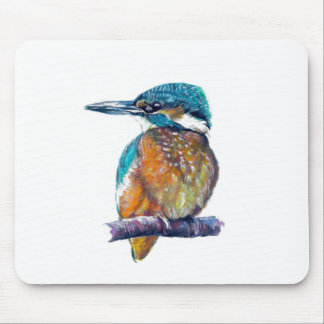 Kingfisher on branch, art. mouse pad