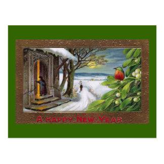 Kingfisher on Mistletoe Vintage New Year Postcard