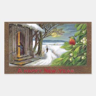 Kingfisher on Mistletoe Vintage New Year Rectangular Sticker
