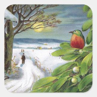 Kingfisher on Mistletoe Vintage New Year Square Sticker