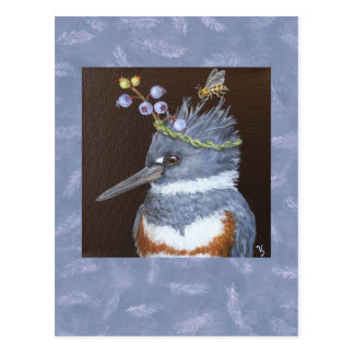 kingfisher postcard Maine blueberries
