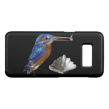 Beach Themed KINGFISHER,SEA SHELL AND PEARL Electric Blue,Black Case-Mate Samsung Galaxy S8 Case