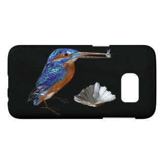 KINGFISHER,SEA SHELL AND PEARL Electric Blue,Black Samsung Galaxy S7 Case