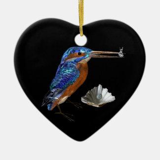 KINGFISHER ,SEASHELLS BLUE SAPPHIRE HEART MONOGRAM CHRISTMAS TREE ORNAMENTS