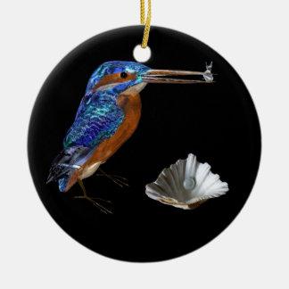 KINGFISHER & SEASHELLS BLUE SAPPHIRE MONOGRAM CHRISTMAS TREE ORNAMENT