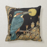 "Kingfisher Throw Pillow<br><div class=""desc"">My Original Drawing of &quot;The Kingfisher&quot; created in ink &amp; gold leaf makes a stylish accessory for your room with an Art Nouveau feel</div>"