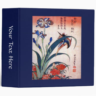 Kingfisher with Irises and Wild Pinks, Hokusai 3 Ring Binders