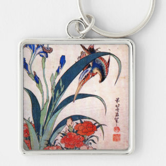 Kingfisher with Irises and Wild Pinks, Hokusai Silver-Colored Square Keychain
