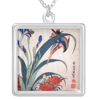 Kingfisher with Irises and Wild Pinks, Hokusai Square Pendant Necklace