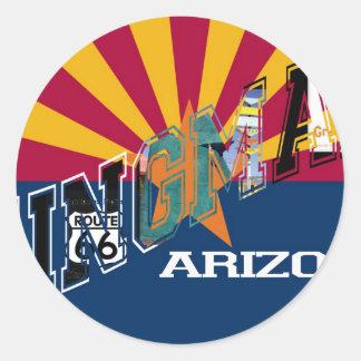 Kingman Arizona Flag Route 66 Classic Round Sticker