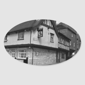 Kings arms. The pub that floods. Oval Sticker