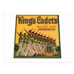 Kings Cadets Asparagus Vintage Crate Label Post Card