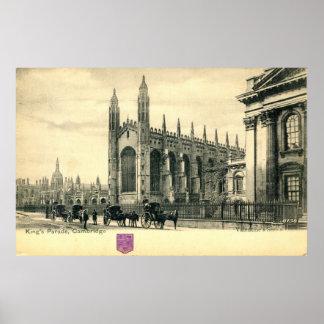 King's Parade, Cambridge England 1915 Vintage Poster