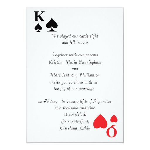 Kings Amp Queens Playing Card Wedding Invitation 4 5 Quot X 7