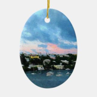 King's Wharf Bermuda Harbor Sunrise Ceramic Ornament